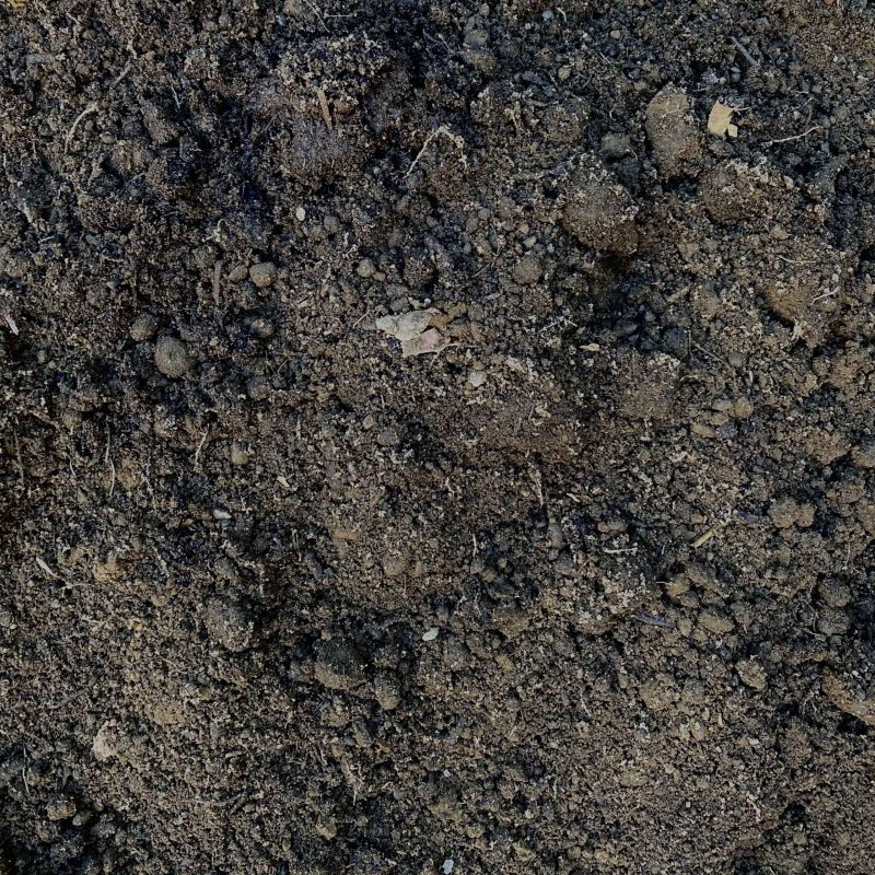 Super soil is a mix of loam and organic compost. It is a dark dirt with visible compost including leaves.