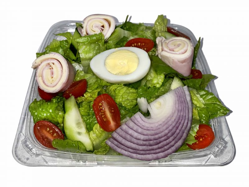 This picture shows our chef salad with a white background!