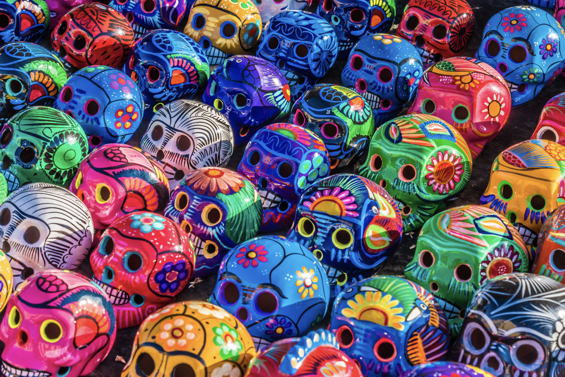 Colorful painted skulls at a festival