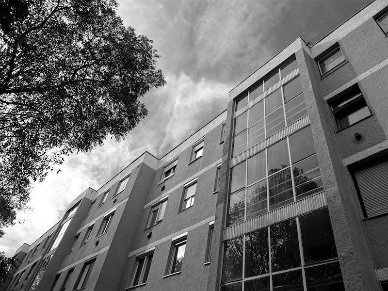 Apartment building photo in black and white