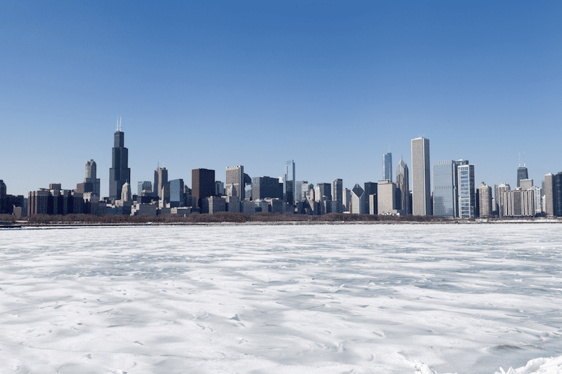 Chicago skyline with frozen water at front