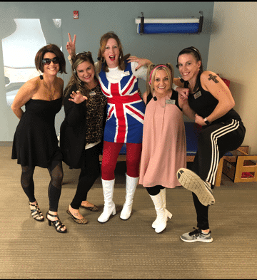 Some of the Excel Physical Therapy team dressed for Halloween as the Spice Girls